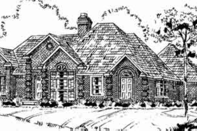 European Style House Plan - 3 Beds 2.5 Baths 2228 Sq/Ft Plan #405-128 Exterior - Front Elevation