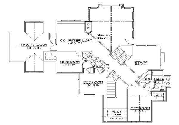 Architectural House Design - Traditional Floor Plan - Upper Floor Plan #5-470