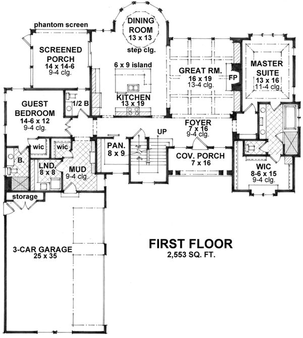 Craftsman Floor Plan - Main Floor Plan Plan #51-562