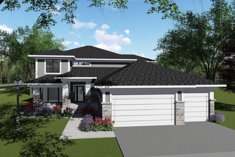 Dream House Plan - Modern Exterior - Front Elevation Plan #70-1429