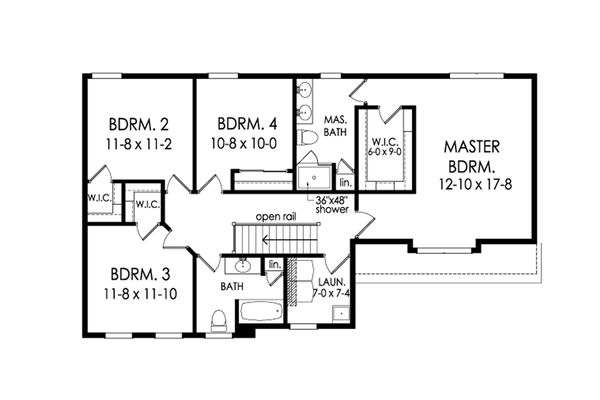 Colonial Floor Plan - Upper Floor Plan Plan #1010-213