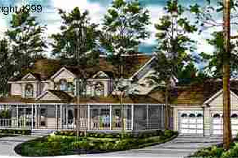 Country Style House Plan - 4 Beds 3.5 Baths 2983 Sq/Ft Plan #40-101 Exterior - Front Elevation