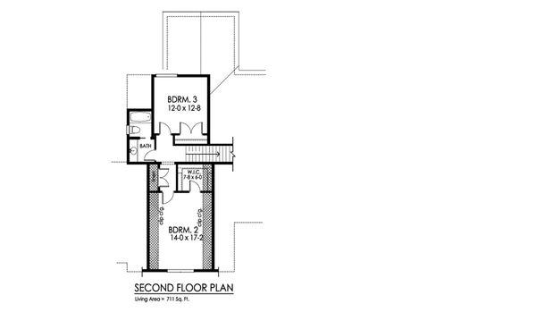 Craftsman Floor Plan - Upper Floor Plan Plan #1010-234
