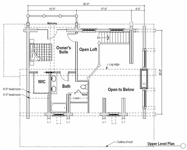 Log Floor Plan - Upper Floor Plan Plan #451-12