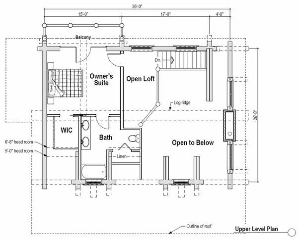 Log Floor Plan - Upper Floor Plan #451-12