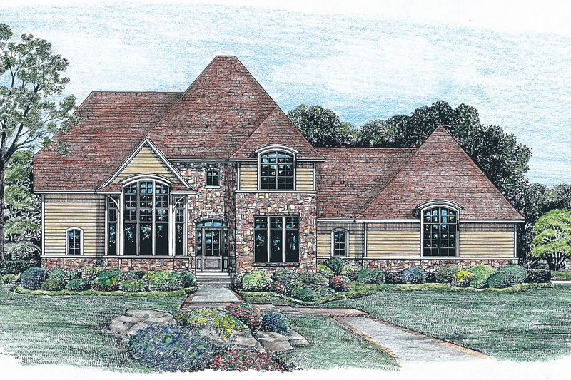 House Plan Design - European Exterior - Front Elevation Plan #20-261