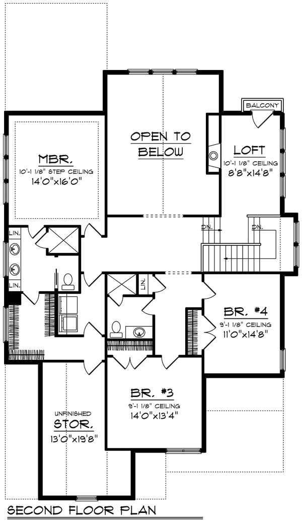 Craftsman Floor Plan - Upper Floor Plan Plan #70-1204