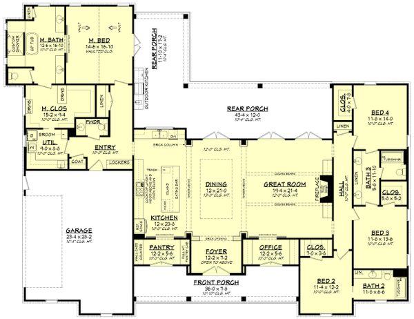 Dream House Plan - Farmhouse Floor Plan - Main Floor Plan #430-197