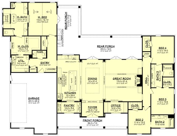 Farmhouse Floor Plan - Main Floor Plan Plan #430-197