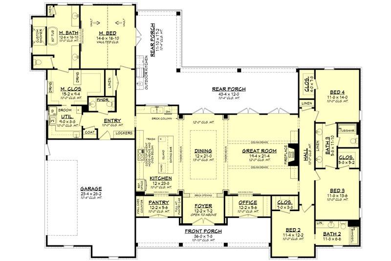 Farmhouse Floor Plan - Main Floor Plan Plan #430-197