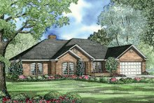House Plan Design - Traditional style home with European accents, elevation