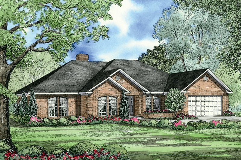 Architectural House Design - Traditional style home with European accents, elevation