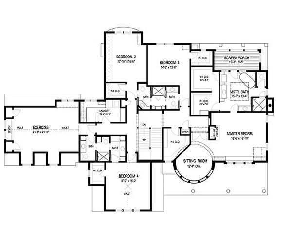 Traditional Floor Plan - Upper Floor Plan Plan #56-604