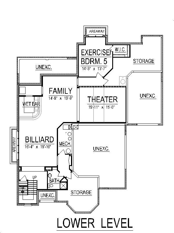 European Floor Plan - Lower Floor Plan Plan #458-3