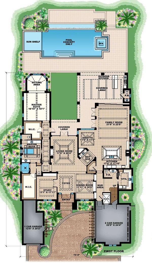 Beach Floor Plan - Main Floor Plan Plan #27-541