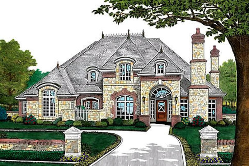 European Style House Plan - 4 Beds 3.5 Baths 3168 Sq/Ft Plan #310-432 Exterior - Front Elevation