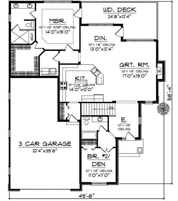 European Floor Plan - Main Floor Plan Plan #70-860