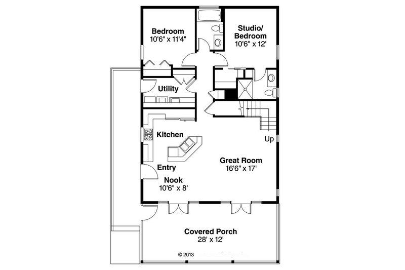 Cottage Floor Plan - Main Floor Plan Plan #124-916