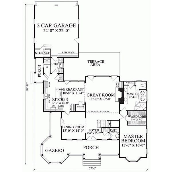 Southern Floor Plan - Main Floor Plan Plan #137-118