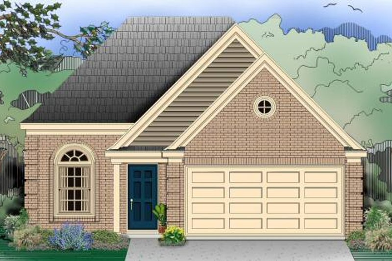 European Style House Plan - 3 Beds 2 Baths 1274 Sq/Ft Plan #81-689 Exterior - Front Elevation