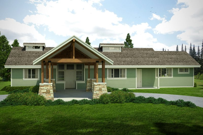 Craftsman Exterior - Front Elevation Plan #124-1005
