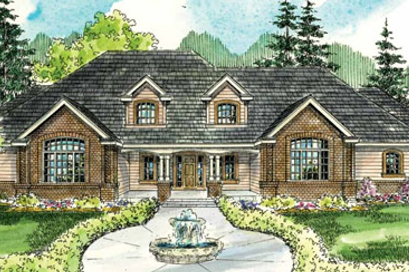 European Style House Plan - 3 Beds 3.5 Baths 6168 Sq/Ft Plan #124-782 Exterior - Front Elevation