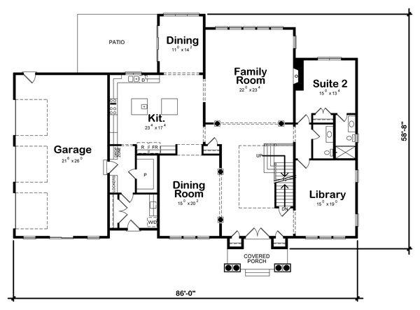 House Plan Design - Classical Floor Plan - Main Floor Plan #20-2385