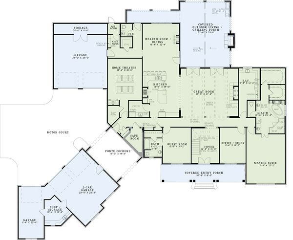 Dream House Plan - European Floor Plan - Main Floor Plan #17-2505
