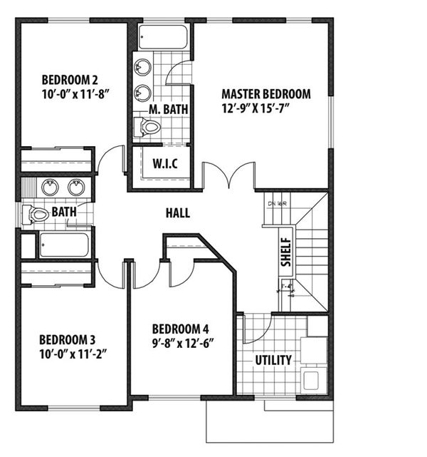 Country Floor Plan - Upper Floor Plan Plan #569-33