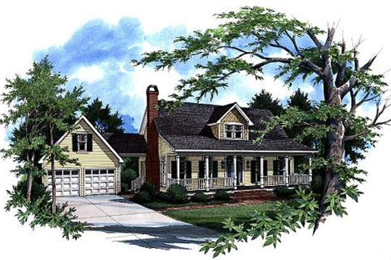 Country Style House Plan - 4 Beds 2.5 Baths 1874 Sq/Ft Plan #41-141 Exterior - Front Elevation