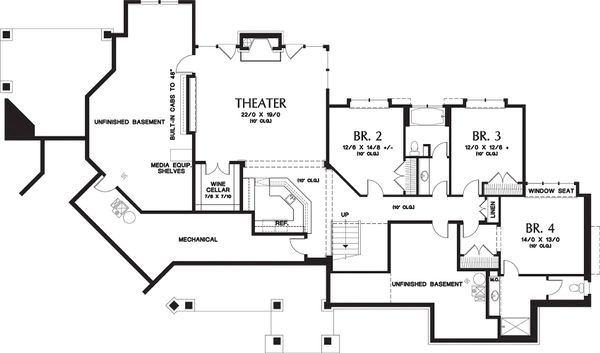 Craftsman Floor Plan - Lower Floor Plan Plan #48-233
