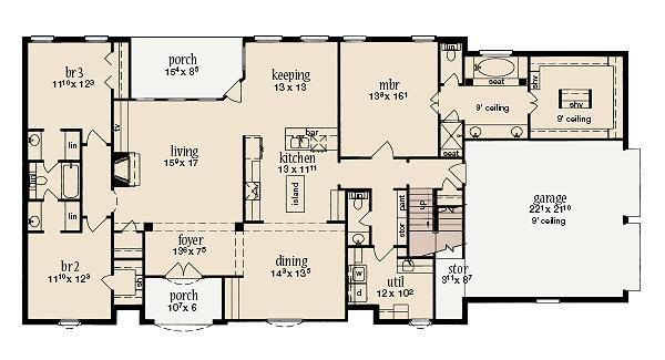 European Floor Plan - Main Floor Plan Plan #36-462