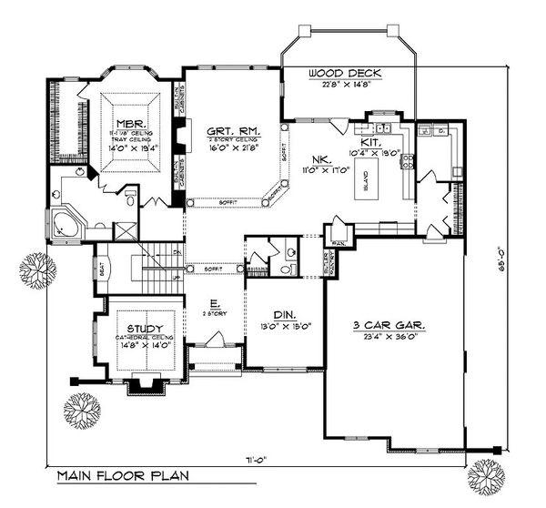 European Floor Plan - Main Floor Plan Plan #70-546