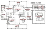 Country Style House Plan - 4 Beds 3 Baths 2649 Sq/Ft Plan #63-208 Floor Plan - Main Floor Plan