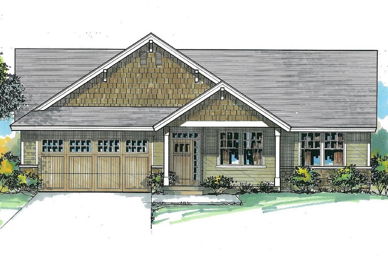 Craftsman Style House Plan - 3 Beds 2 Baths 1577 Sq/Ft Plan #53-468