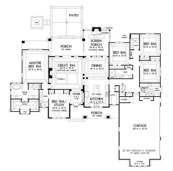House Plan Design - Ranch Floor Plan - Main Floor Plan #929-1050