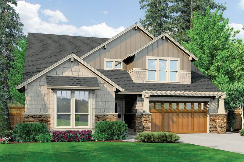 Dream House Plan - Front View - 3400 square foot Craftsman home