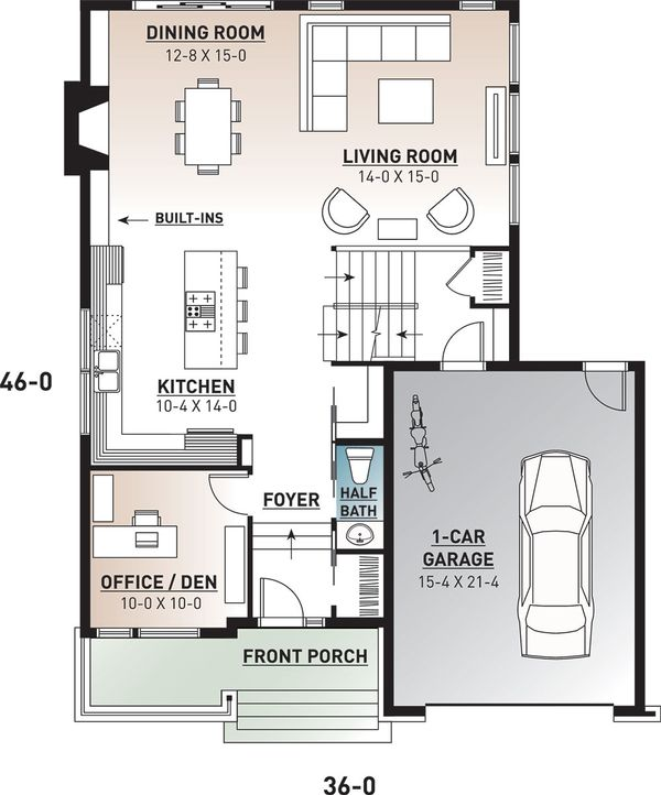 Modern Floor Plan - Main Floor Plan Plan #23-2700