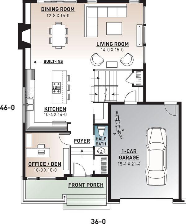 Modern Floor Plan - Main Floor Plan Plan #23-2700
