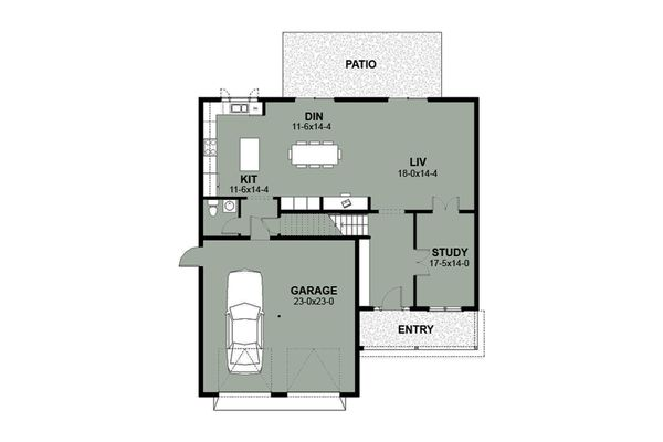Farmhouse Style House Plan - 4 Beds 2.5 Baths 2515 Sq/Ft Plan #497-5 Floor Plan - Main Floor Plan