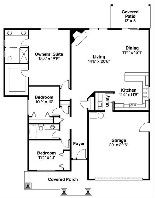Craftsman Floor Plan - Main Floor Plan Plan #124-780