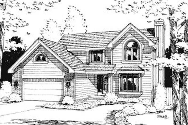 Traditional Style House Plan - 4 Beds 2.5 Baths 1830 Sq/Ft Plan #20-572 Exterior - Front Elevation