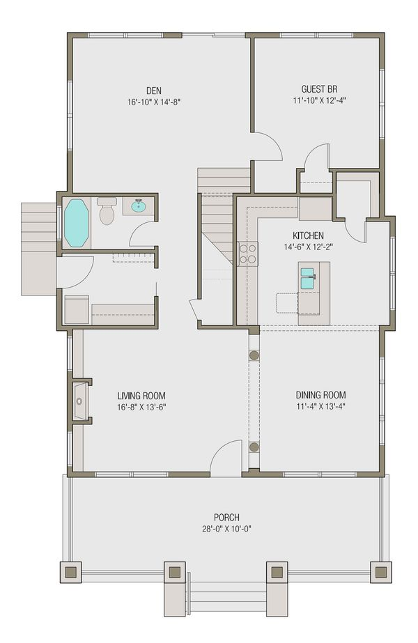 Craftsman Floor Plan - Main Floor Plan Plan #461-46