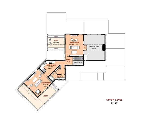 Contemporary Floor Plan - Upper Floor Plan Plan #917-42