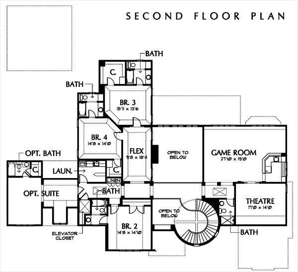 European Floor Plan - Upper Floor Plan Plan #449-3