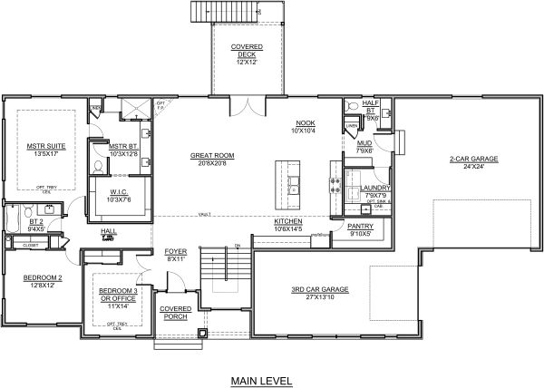 House Plan Design - Farmhouse Floor Plan - Main Floor Plan #1073-17