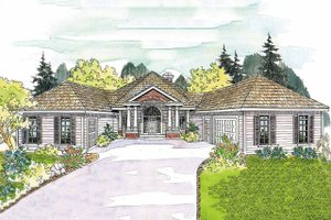 Ranch Exterior - Front Elevation Plan #124-577