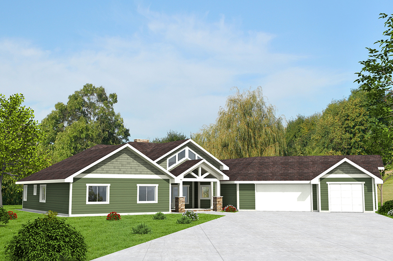 Ranch Exterior - Front Elevation Plan #117-871