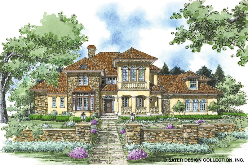 Mediterranean Exterior - Front Elevation Plan #930-258