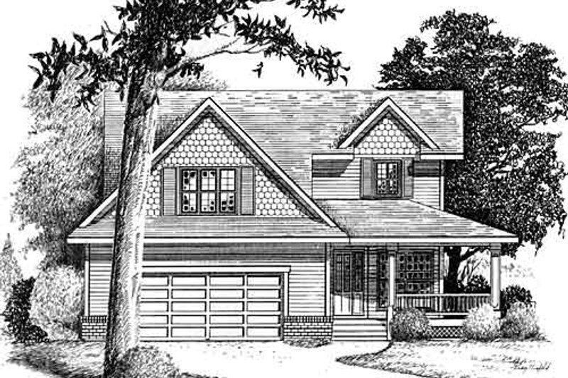 Traditional Style House Plan - 3 Beds 2.5 Baths 1899 Sq/Ft Plan #409-1114 Exterior - Front Elevation